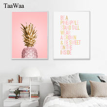 TAAWAA Pink Gold Pineapple Poster Quote Wall Art Canvas Painting Print Decorative Picture for Women Bedroom Modern Home Decor(China)
