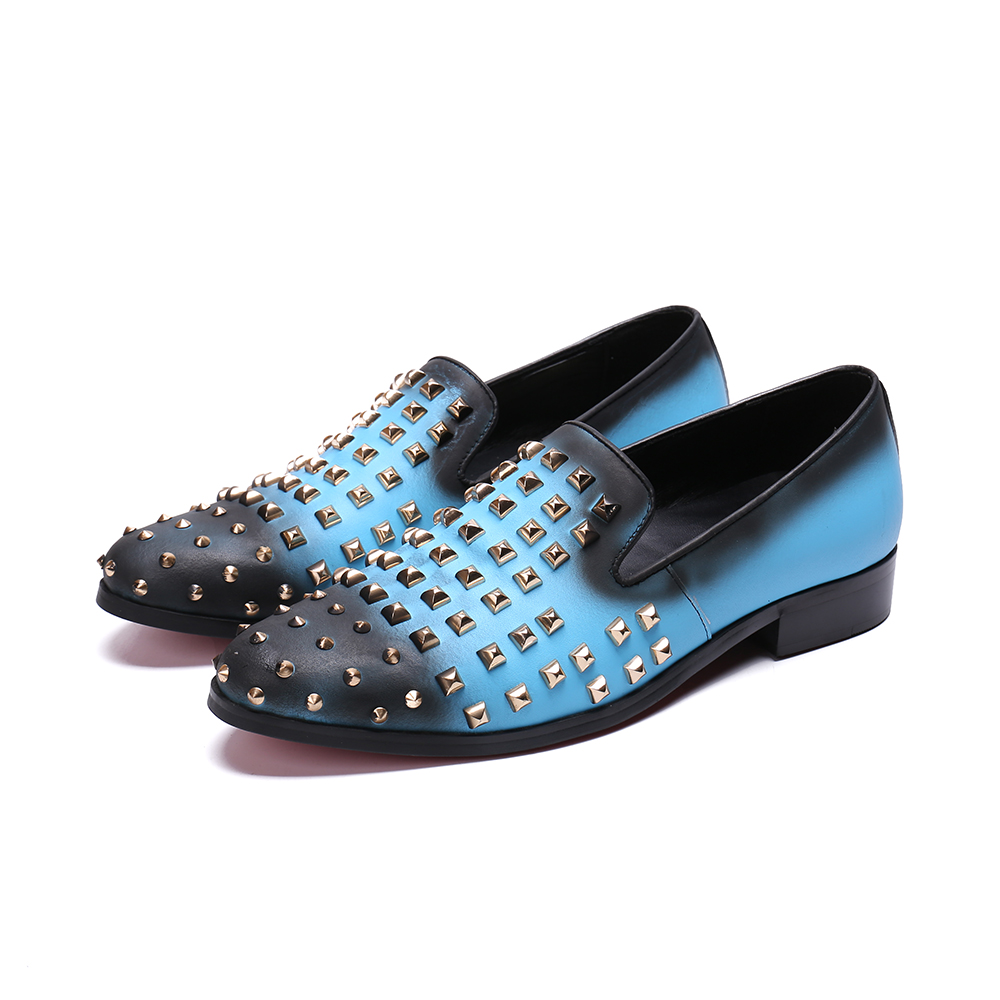 Rivets Studded Mens Shoes Casual Luxury Brand Loafers Sky Blue Gradient Designer Men Flats Real Leather Shoes Men Mocassin Homme