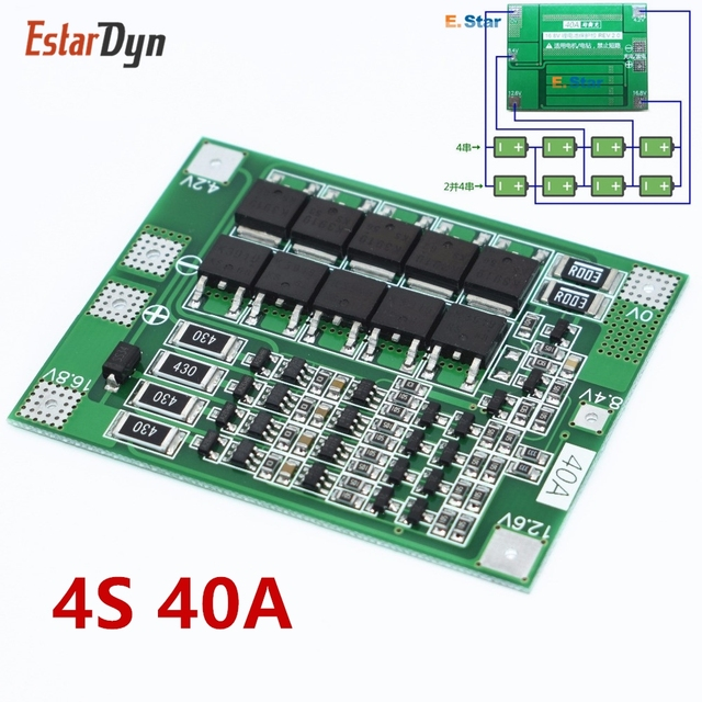 4s 40a li ion lithium battery 18650 charger pcb bms protection board