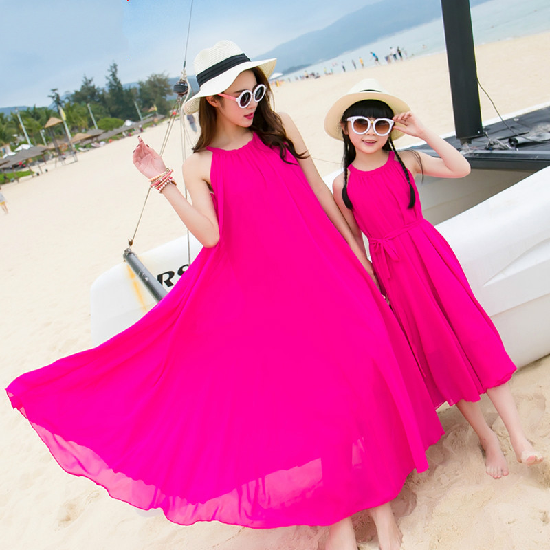 Mother Daughter Dresses with Matching Belt 2018 Summer Chiffon Maxi Dress Women Girls Beachwear Plus Size Long Dress Family Look trendy plus size stretchy letter decorated chiffon dress for women