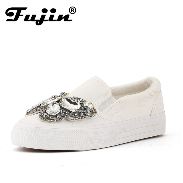 2017 Platform Rhinestone Espadrilles Shoes fashion Shoes Luxury Brand slip on Women crystal Shoes bow wedding shoes platform