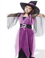 2017 Kids Girl Children Halloween Costumes Girl Black Fly Witch Costume Dress And Hat Cap Party