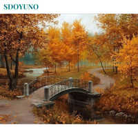 SDOYUNO Frame DIY Painting By Numbers Kits Autumn Landscape Hand Painted Oil Paint By Numbers Unique Gift For Home Decor 40x50