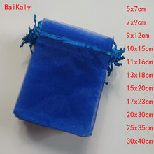 100pcs Royal Blue Drawstring Organza Bags favor Wedding Pouches Jewelry Packaging Bags Candy Gift Bag Party Decoration Supplies(China)
