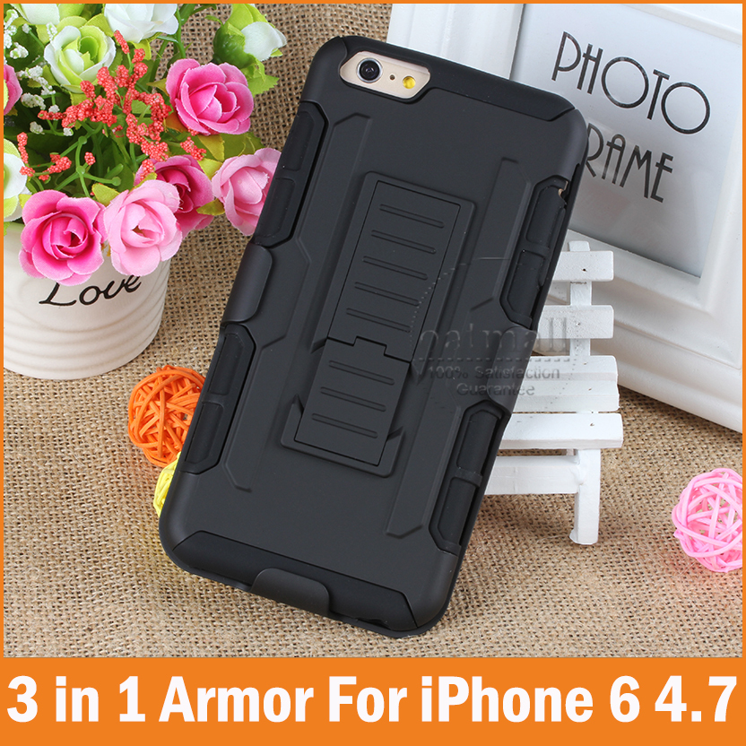 Tough Hybrid Armor iPhone 7 case 3 1 3D Kickstand Lock Belt Clip Military Style 6 6S Plus Cover Phone cases - Oasis Trading Company LMT store