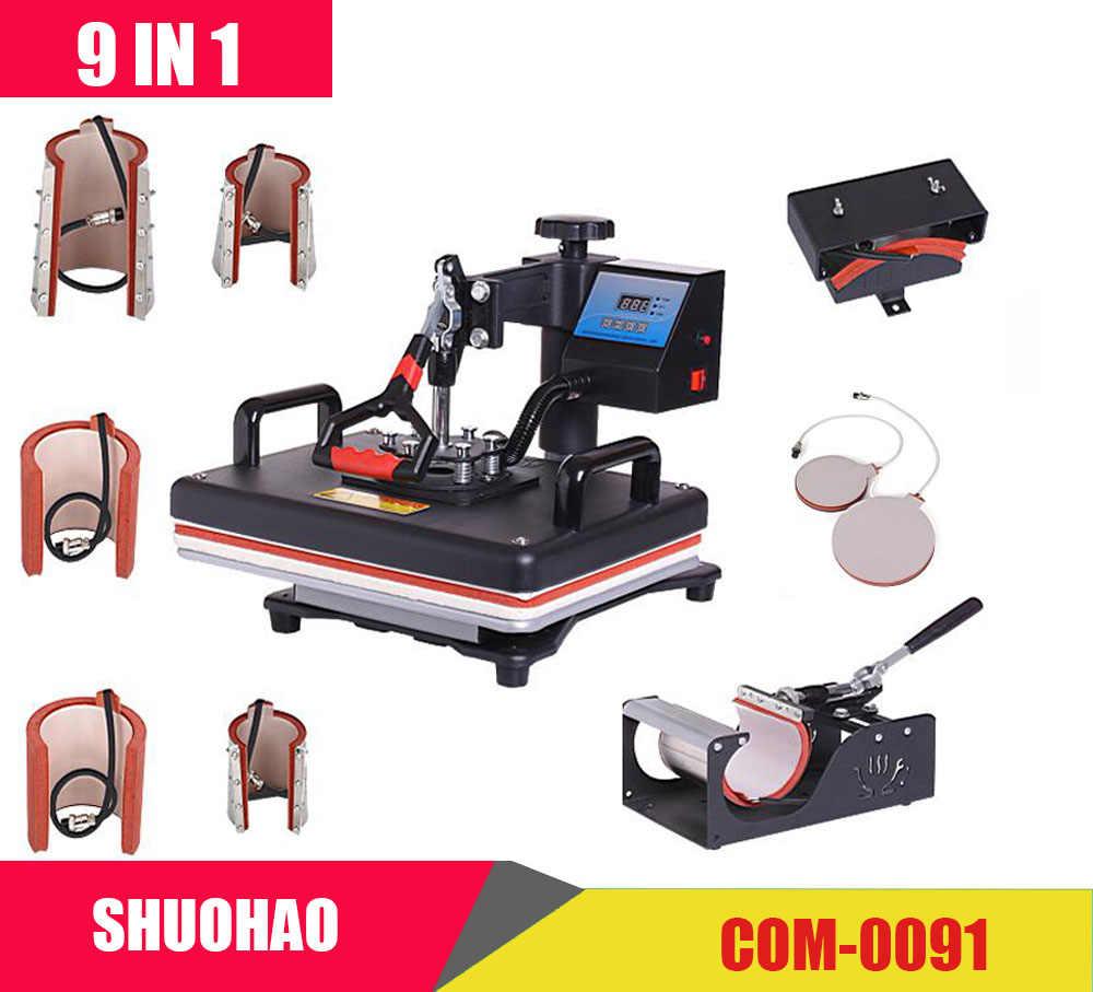 Дешевый 9 в 1 термопресс машина, сублимационный принтер/теплопередающая машина, термопресс для кружки/крышки/футболки/чехол для телефона и т. Д., передача
