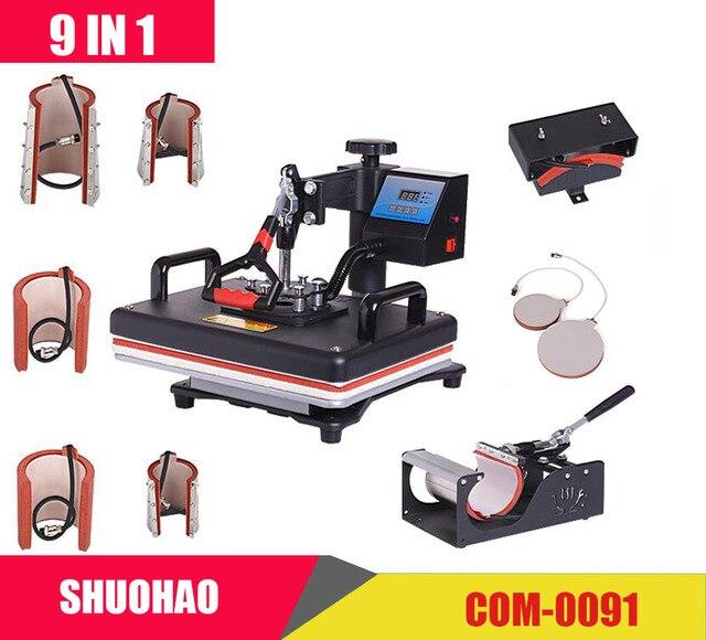 Barato 9 en 1 máquina de prensa de calor de sublimación/impresora de transferencia de calor de la máquina prensa de calor para taza/tapa/camiseta/funda de teléfono, etc., transferencia