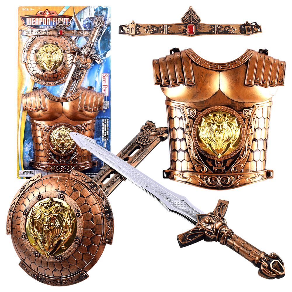 Bronze Weapon Set Simulation Bow Arrow Sword Shield Armor Combination Children's Toys Weapons Cosplay Sword Knight 1557