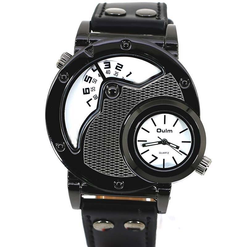 da46345de1b Homem Relógios de Quartzo Pulseira de Couro Oulm Assistir Top Marca de Luxo  Militar Esporte relógio de Pulso Relógio Masculino relogio masculino em  Relógios ...