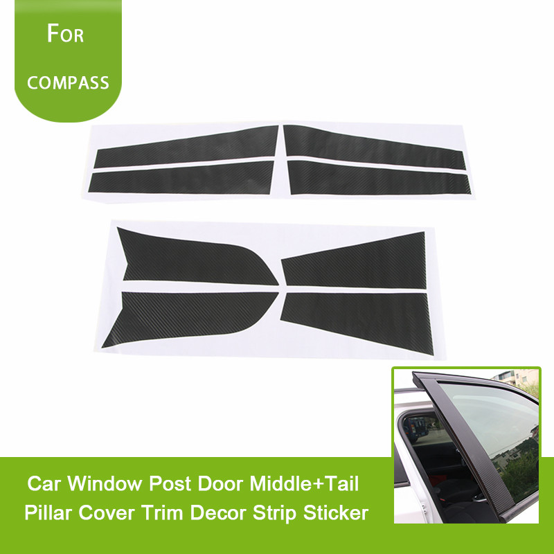 Carbon Fiber Car Accessories Auto Window Post Door Middle+Tail Pillar Cover Trim Decor Strip Sticker For Jeep Compass 2017+ for kia carens 2013 stainless steel window middle center pillar trim side door body molding streamer cover strip auto model