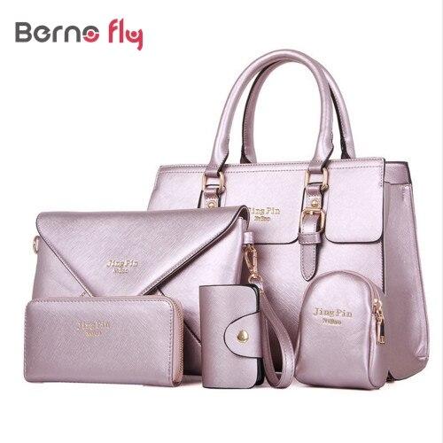 25a4755dc43b 2018 Fashion Women Handbags PU Leather Women Messenger Bag Business Hot Girls  Bag Solid Volume Women Bags 5 Bags Set