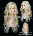 D&M3251 >Beautiful Fashion wig New Charm Women's long Blonde Curly Natural Hair Full wigs