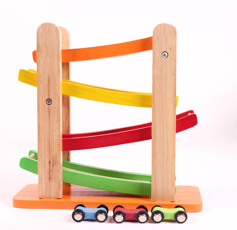 4 layer slide race car drop baby kids child wooden educational toy classic tradition game