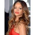 Rihanna Hairstyle Charming  Ombre Color Long Wavy Hairstyle  100% Hu man Hair Wigs Lace Front Wigs