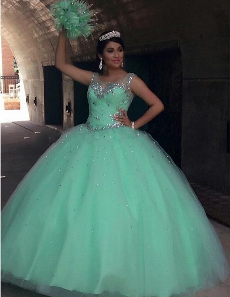 2f199474e8 Mint Green Quinceanera Dresses Ball Gown 2016 Crystal Sequins Plus ...