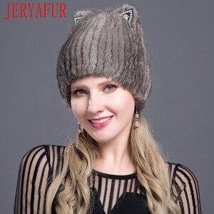 Image 4 - JERYAFUR Sombrero de piel de visón a la moda rusa, sombrero de piel de zorro, moda juvenil, orejas de gato, estilo lindo visón, gorro con pelo, gorro de esquí, gorro con pelo