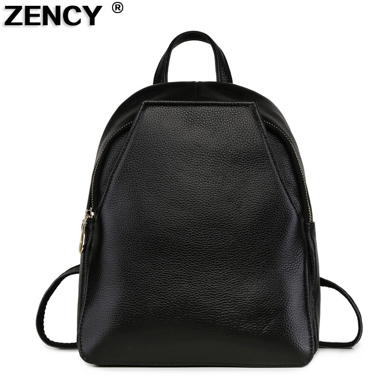 100% Genuine Leather Excellent Fashion Women's Backpacks Ladies First Layer Cow Leather Designer Summer Backpack Young Girls Bag zency summer genuine oil wax cow leather women ladies backpack cowhide designer korean style fashion ladies girl bag mochila