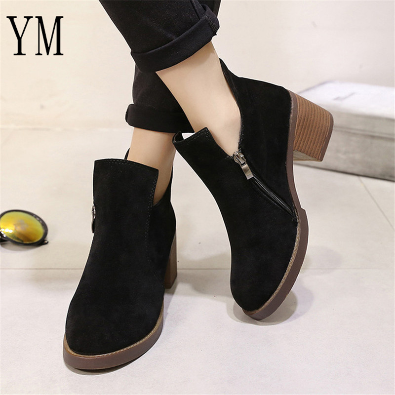 Hot Sale Autumn/Winter Women Boots Thick Heel Leather Female Side Zipper Shoes Vintage Fashion Ankle Boots Women Shoes Bota35-39 3