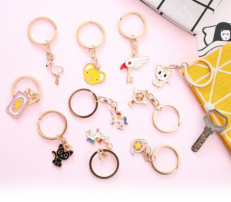 24 шт./лот 3D Япония Chic Luna кошка Единорог Фламинго милые металлический брелок кольцо висит на день рождения фестиваль вечерние вынос сувениры