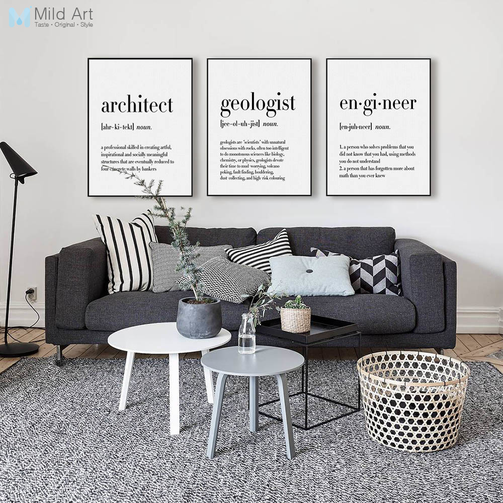 Minimalist Black White Occupation Quotes Posters Prints ... on Room Decor Posters id=25818