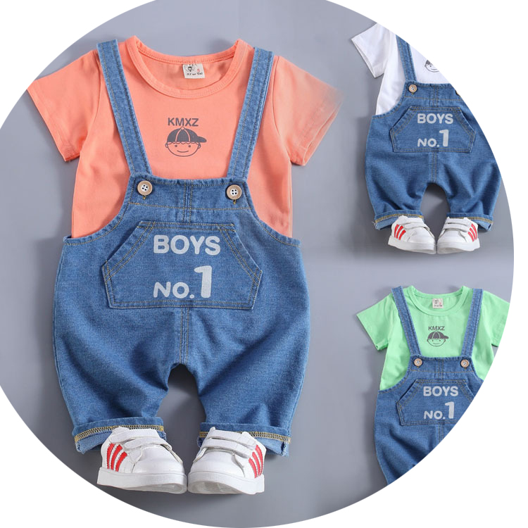 2016 Summer new  baby clothing set cotton o-neck short sleeve boys overall suit A011 2016 new summer baby sport suit 100