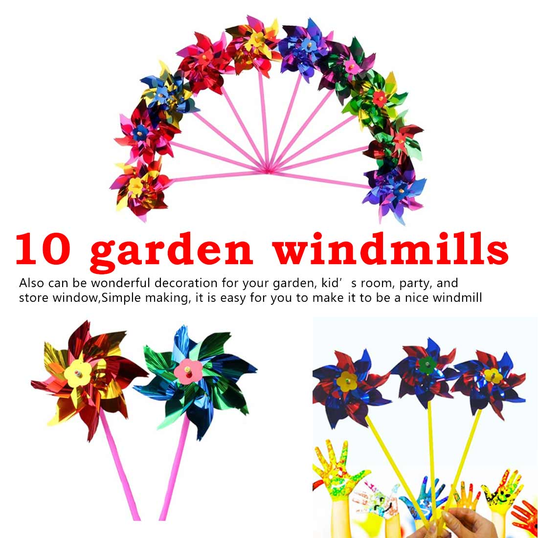 10Pcs Plastic Windmill Pinwheel Wind Spinner Kids Toy Garden Lawn Party Decor Toy Gift For Boys Girls Baby Random Color