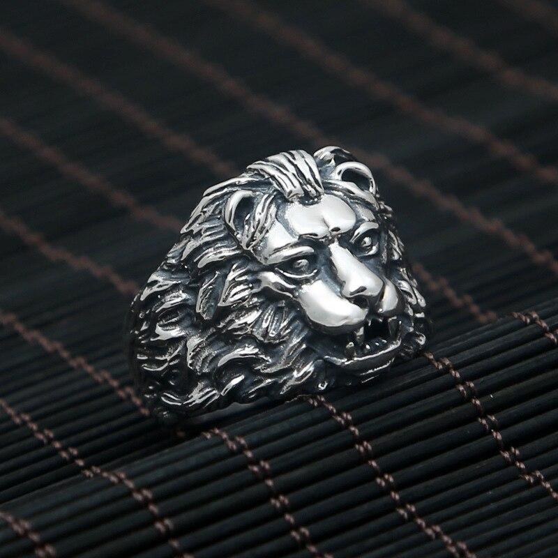 FNJ 925 bague en argent Lion nouvelle mode bijoux animaux S925 bagues en argent Sterling pour femmes hommes taille 8-11 bague fleur