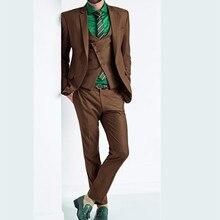 Custom Made Fashion Slim men suit Groom mens Tuxedo Single Breasted Groomsman Wedding Business Suits for men (Jacket+Pants+Vest)
