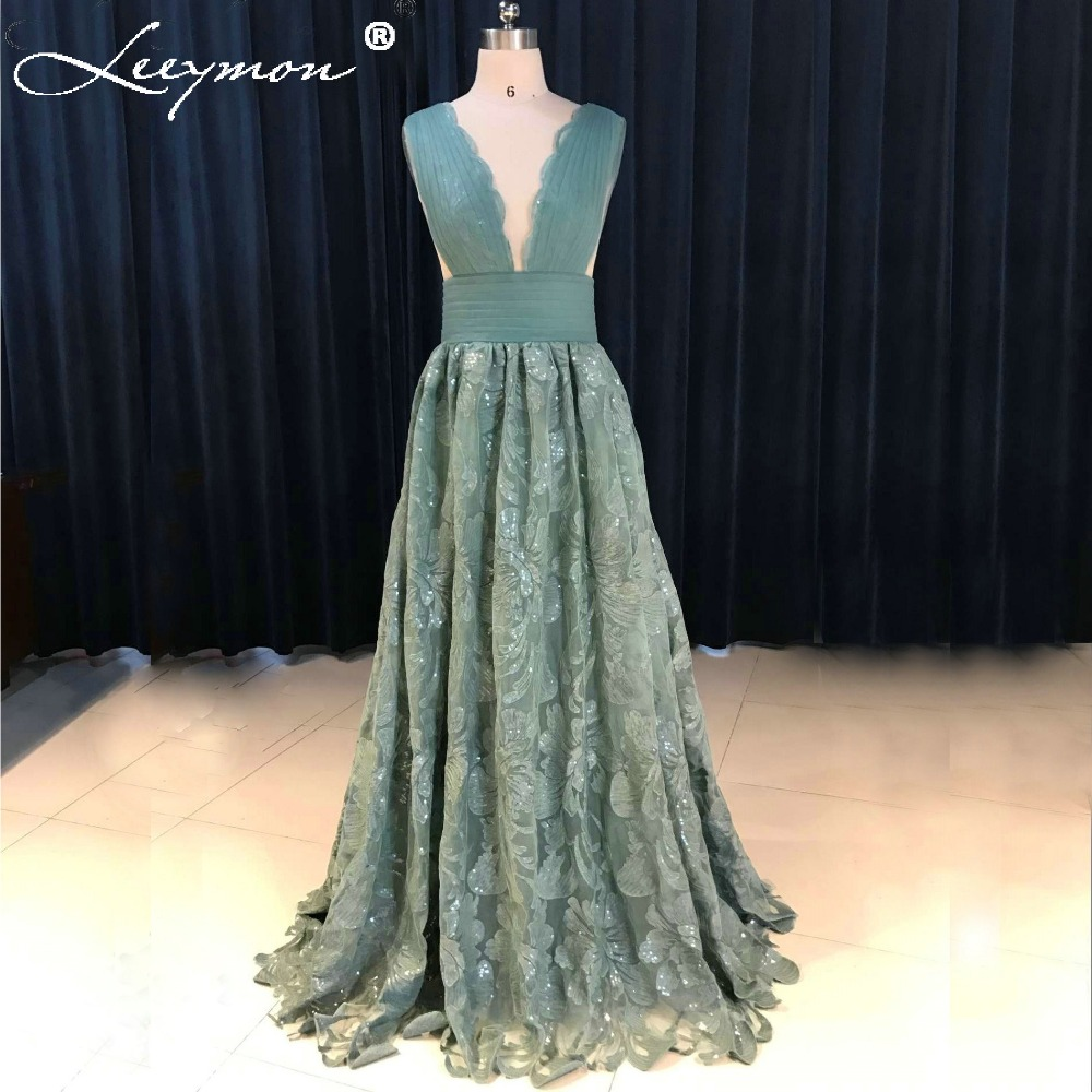 Elegant Delicate Teal Lace Prom Dress 2017 V Neck Sexy ...