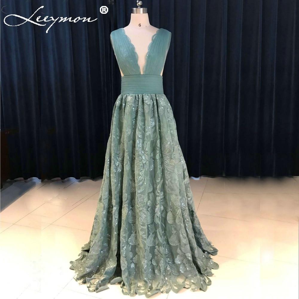 Teal V-Neck Open Back Prom Dress