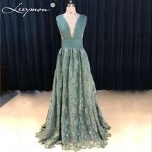 Elegant Delicate Teal Lace Prom Dress 2019 V-Neck Sexy Open Back Pleat Evening Dresses robe de soiree Long Prom Dresses