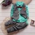 BibiCola осень зима дети свадебная одежда костюм дети связать джентльмен жилет 3 шт. наборы одежда для новорожденных baby мальчик решетки костюмы куртки