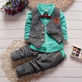 BibiCola autumn winter kids wedding clothes suit children tie gentleman vest 3pcs clothing sets baby boy lattice outfits jackets