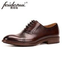 Натуральная кожа Для мужчин ручной работы в стиле ретро медальон обувь с перфорацией круглый носок человек формальная Свадебная вечеринка Туфли-оксфорды KUD243