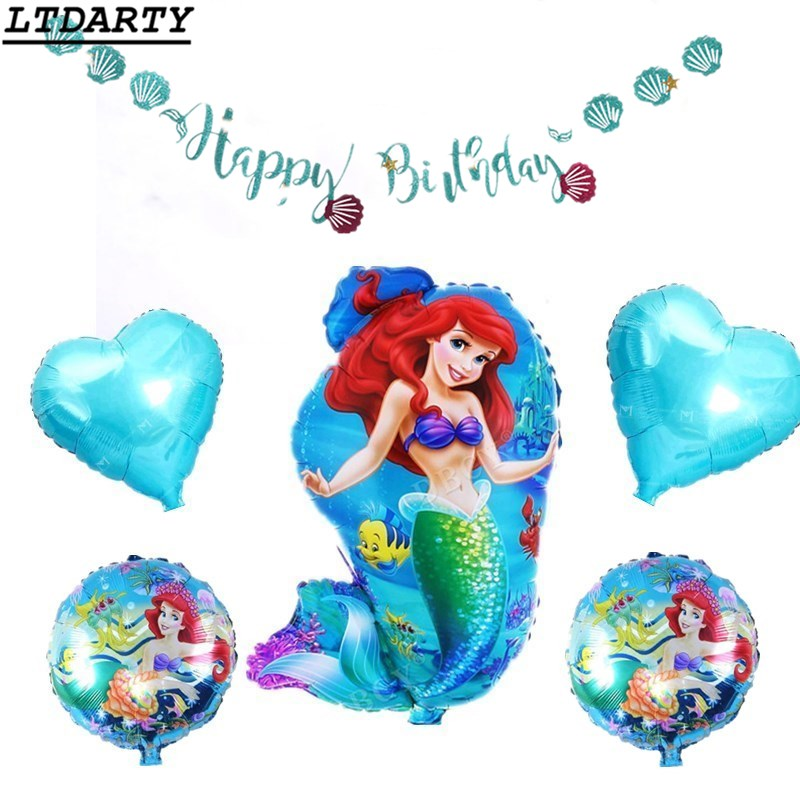 Home & Garden 6pcs/lot Mermaid Balloon And Flag Star Kid Toys 18 Inch Round Mermaid Balloons Birthday Party Girl Gift Ariel Of Cartoon Globos Chills And Pains