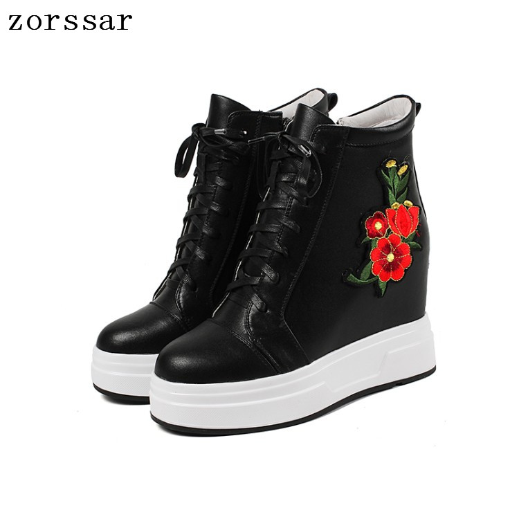 {Zorssar} Fashion Flower womens winter boots Genuine Leather height increasing women high heel ankle boots Platform wedges shoes czrbt portable solo natural genuine cow leather women height increasing 3cm heel 4cm boots ladies fashion ankle boots walking