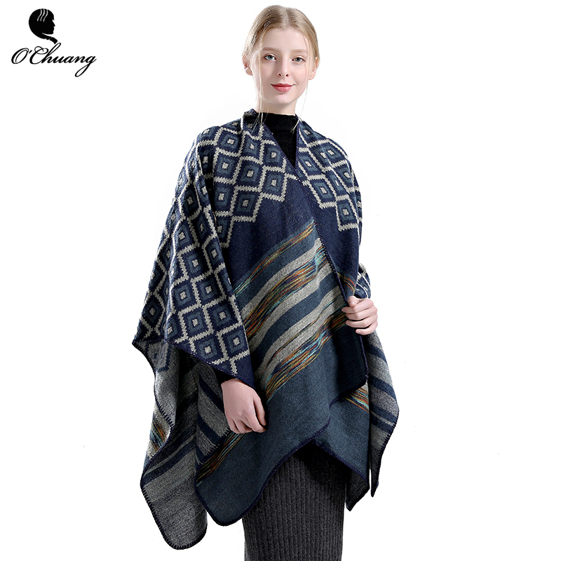 Winter Poncho Scarf Women Pashmina Cashmere Ponchos And Capes Top Quality Plaid Foulard Dress Luxury Brand Thicken Wraps Stoles