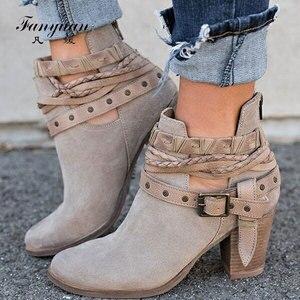 Image 1 - Fanyuan Herfst Winter Vrouwen enkellaars Toevallige Dames schoenen Martin laarzen Suede Lederen Gesp laarzen Hoge hakken rits Sneeuw boot