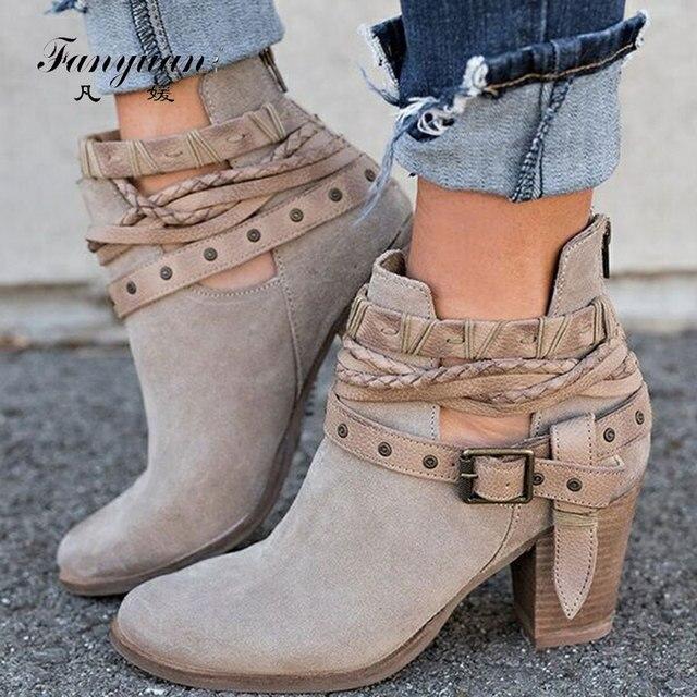 Fanyuan outono inverno botas de tornozelo das senhoras casuais sapatos martin botas de camurça fivela de couro botas de salto alto zíper botas de neve