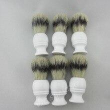 6 шт./партия Искусственная барсук цвет кабан кисточка для бритья щетины ручка из белого дерева узел 21 мм