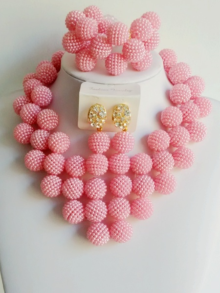 Luxury African beads jewelry set pink Imitation pearl beads bride jewelry nigerian wedding african beads jewelry Set G-69