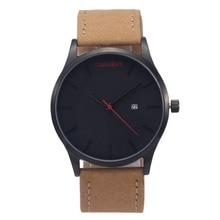 Nuevo Reloj De Lujo de Los Hombres Del Diseñador Marca de Moda De Cuero Marrón Estilo Simple Relojes de Cuarzo-reloj de Los Hombres Reloj Masculino Del Relogio Masculino