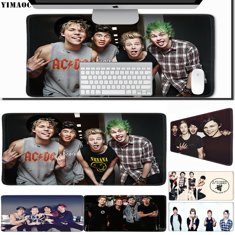 Mouse & Keyboards Computer & Office Disciplined Yimaoc 40*90 Cm Large Mouse Pad Gamer Mousepad Rubber Gaming Desk Mat With Locking Edge 5 Seconds Of Summer 5sos To Win A High Admiration And Is Widely Trusted At Home And Abroad.