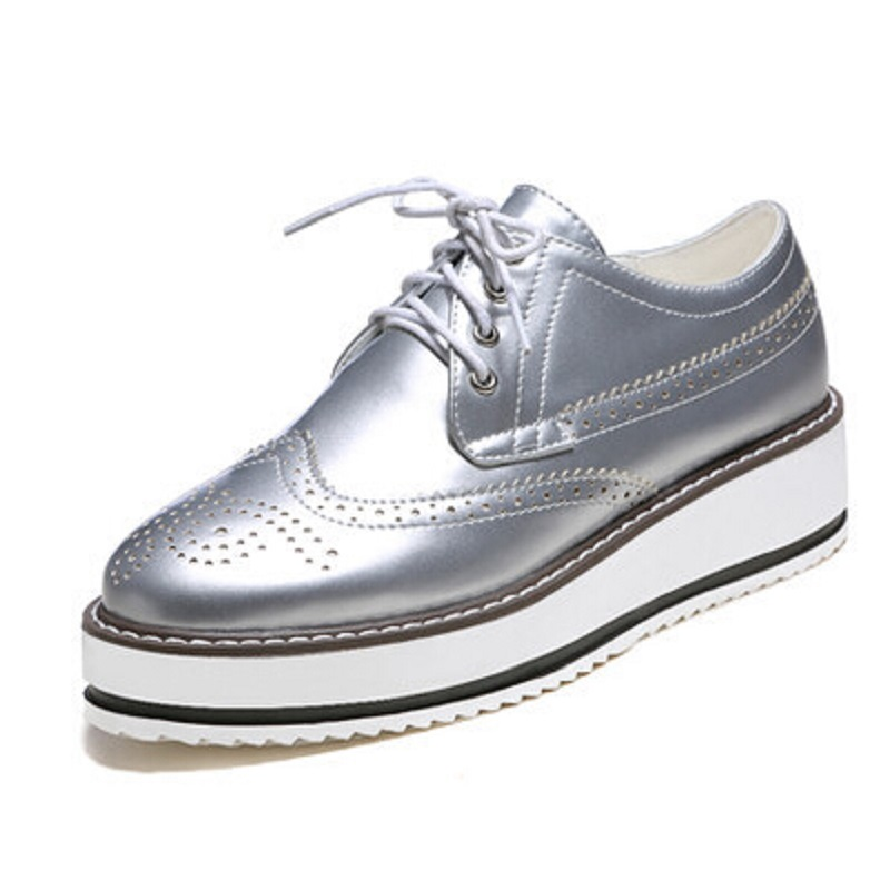 d374ffc2c1 New 2019 Style Oxford Shoes For Women WHITE SILVER BLACK Patent Leather  Flat Platform Oxfords for Women Brogues Shoes