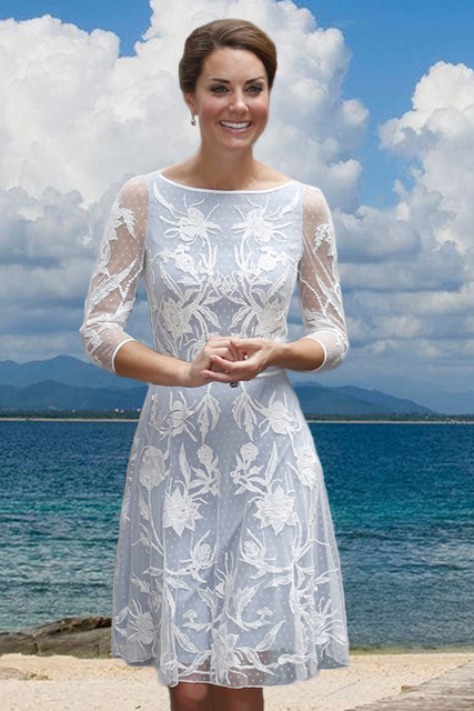 Lace Embroidery Princess Dress Luxury Kate Middleton Dresses WF007B1 ...