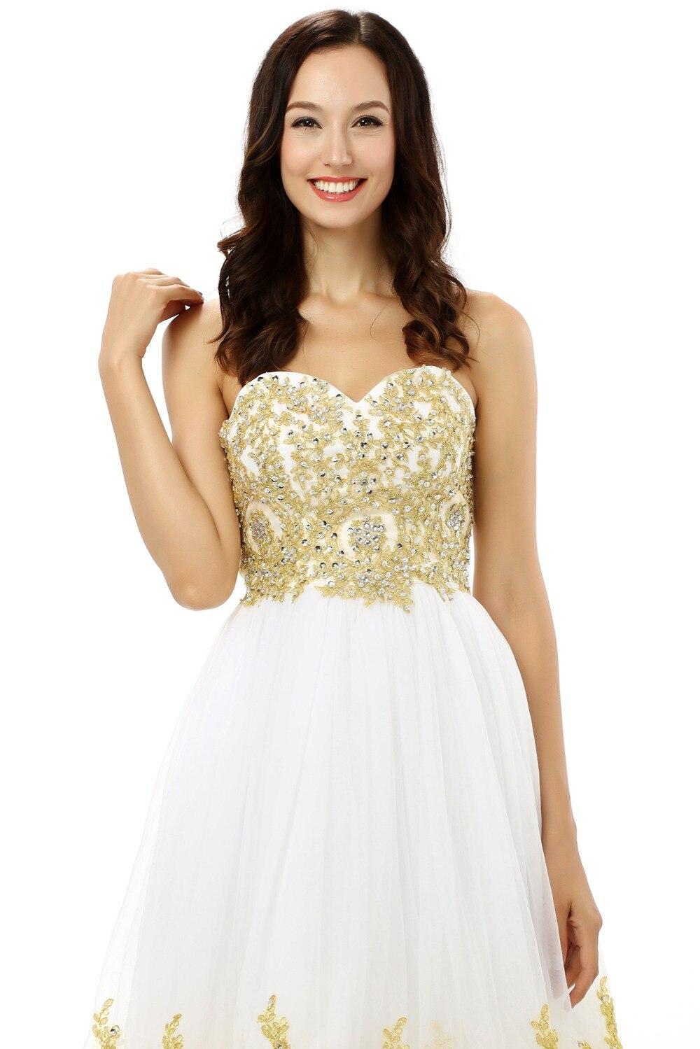361838b0153 Élégant 2019 retour robes a ligne chérie court Mini Tulle Appliques  cristaux petite robe blanche robes de Cocktail dans Homecoming Robes de  Mariages et ...