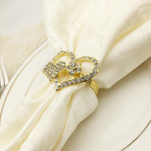 6PCS golden heart-shaped napkin ring napkin button alloy napkin ring mouth cloth ring