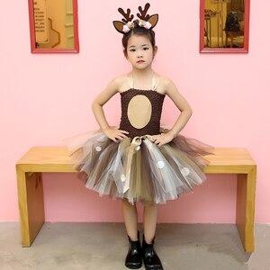 Image 5 - Meisjes Herten Tutu Jurk Met Hoofdband Halloween Kostuum Voor Kinderen Meisjes Verjaardagsfeestje Jurk Kinderen Cosplay Animal Kostuum 1 14Y