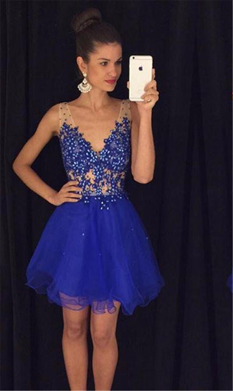 Vogue Royal Blue Designer Prom Gowns Deep V Neck Tulle A Line Prom ...