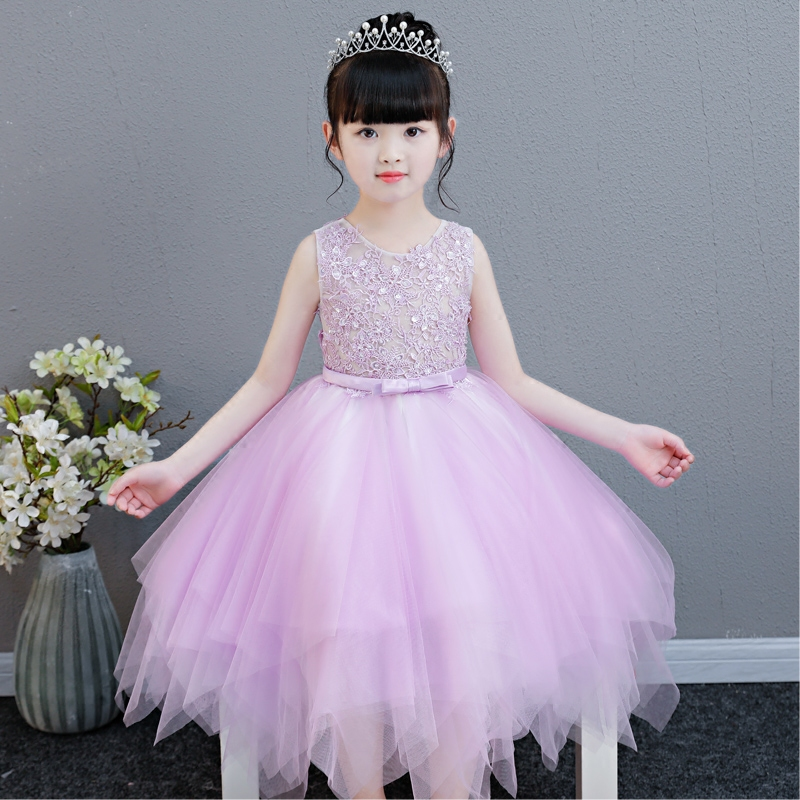 2018 New Summer Elegant Girl Pink Purple Wedding sleeveless Lace Dress Tulle Princess Birthday Dress Kids First Communion Gown pink gorgeous lace see through sleeveless mini dress
